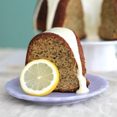 Lemon Poppyseed Bundt Cake with White Icing - low fat and high protein, yet full of flavor!