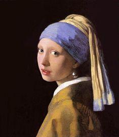 """. La joven de la perla Considerada por algunos como la """"Mona Lisa del Norte,"""" esta encantadora pintura del artista alemán, Johannes Vermeer, representa exactamente lo que el título indica - La joven de la perla (Girl with Pearl Earring). Completada hacia 1665, esta obra ahora puede ser encontrada en la galería Mauritshuis en La Haya."""