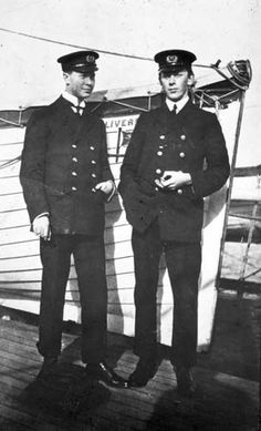 Taken aboard the Adriatic before Browne's voyage on the Titanic, the photograph shows two wireless operators. The gentleman on the left is Jack Phillips, who would stick to his post aboard the Titanic summoning rescuers for those who, unlike himself, were leaving the ship in lifeboats. One of the undisputed heroes of the disaster, he is honored by memorials erected on both sides of the Atlantic. Photo: Father Frank Browne