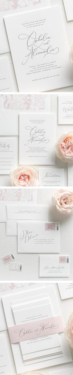 Letterpress wedding invitations are custom printed on an antique letterpress resulting in deep impressions and a dramatic embossed look. Our Ophelia wedding invitations are printed in soft black ink with a hydrangea patterned envelope liner and matching belly band in vintage blush.
