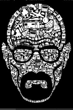 Walter White compiled from every object that turned him into Heisenberg. Show everyone that you are a fan of Breaking Bad with this t-shirt. Heisenberg, Breaking Bad 3, Breaking Bad Series, Walter White, Best Tv Shows, Illustration, Graphic Design, Design Design, Prints