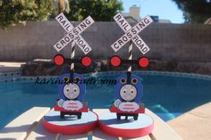 Thomas the Train Center Piece, Thomas and Friends Theme, Train Theme, Center Piece, Table Decorations, by Karinascraftroom on Etsy https://www.etsy.com/listing/263213222/thomas-the-train-center-piece-thomas-and