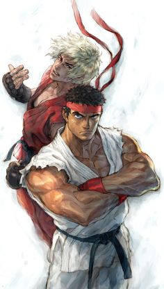View an image titled 'Ken & Ryu Illustration' in our Street Fighter IV art gallery featuring official character designs, concept art, and promo pictures. Ken Street Fighter, Street Fighter Characters, Super Street Fighter, Comic Manga, Comic Art, Street Fighter Wallpaper, Ryu Ken, Character Art, Character Design
