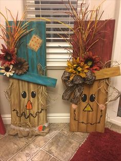 Halloween and Fall yard decorations - Diy Fall Decor Fall Wood Crafts, Pallet Crafts, Thanksgiving Crafts, Holiday Crafts, Diy And Crafts, Kids Crafts, Wooden Crafts, Primitive Fall Crafts, Primitive Candles