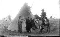 Blackfoot Indians and camp, Gleichen, N.W.T., pre 1905 - City of Vancouver Archives