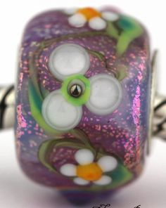 3D PRINCESS' FLOWERS fits Pandora and Trollbeads bracelets artisan murano glass charm bead. Cored with sterling silver. Made by glass artist Mandy Ramsdell