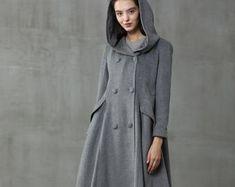 Maxi wool coat Hooded swing coat gray coat women coat | Etsy Hooded Wool Coat, Hooded Winter Coat, Long Wool Coat, Black Wool Coat, Gray Coat, Stylish Winter Coats, Winter Coats Women, Coats For Women, Man Look