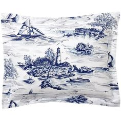 Pottery Barn Sailboat Toile Print Sham ($20) ❤ liked on Polyvore featuring home, bed & bath, bedding, bed accessories, toile bed linens, pottery barn duvet, sail boat bedding, pottery barn bed linens and nautical duvet