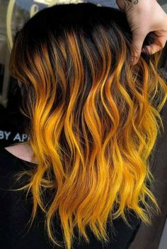 Hair Color 2018 - Deep Yellow Highlights ❤️ Do you know how awesomely yo. Blonde Ombre Hair, Ombre Hair Color, Cool Hair Color, Yellow Hair Color, Hair Color 2017, Hair Colors, Grey Balayage, Balayage Hair, Black Hair With Highlights