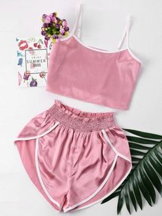 Summer Women Sexy Pajamas Silk Pijamas Sleepwear Deep V Sling Lingerie Set Crop Top And Shorts, High Waisted Shorts, Cut Shorts, Crop Top Et Short, Cropped Top, Jugend Mode Outfits, Trendy Fashion, Fashion Outfits, Pink Fashion