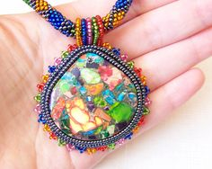 Beadwork Bead Embroidery Pendant Necklace with Rainbow by lutita, $85.00