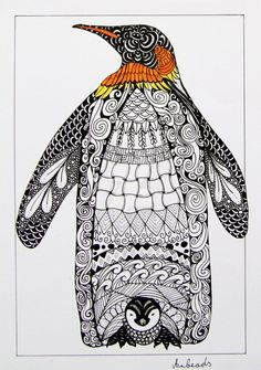 Emperor Penguin by Anbeads on DeviantArt Penguin Drawing, Penguin Art, Anime Comics, Surfboard Drawing, Pinguin Tattoo, Spiritual Paintings, Ink Doodles, Mandala Art Lesson, Emperor Penguin