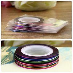 New Fashion Sticker Nails 10Pcs Mixed Colors Nail Rolls Striping Tape Line DIY Nail Art Tips Decoration Wholesale