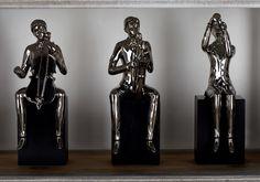 Silver 14 Inch Ceramic Wood Musician Sculpture Set Of 4 Abstract Sculpture, Wood Sculpture, Decorative Objects, Decorative Accessories, Copper Top Table, Trumpets, Pure Copper, Animal Sculptures, Fine Porcelain