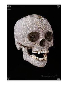For The Love Of God poster by Damien Hirst. Hirst's For the Love of God is a life-size cast of a human skull in platinum, covered entirely by flawless pavé-set diamonds, $310.00