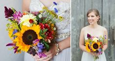 wildflower sunflower bouquet |  Laurie & Ryan's DIY Maryland Barn Wedding at Rocklands Farm | Images: Cassidy Duhon Photography