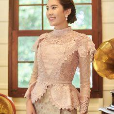 Pikulraht Thai shirt stly( only shirt) by EasylifeThailand on Etsy Dress Brukat, Thai Dress, Batik Dress, Lace Dress, Kebaya Lace, Kebaya Dress, Dress Pesta, Myanmar Traditional Dress, Traditional Dresses