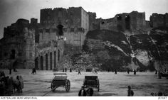 The entrance to an ancient castle built at Aleppo.