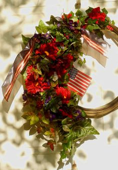 Patriotic Wreath  Red White and Blue Wreath  by forevermore1