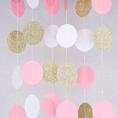 Paper Garland – 3 Pack Total Pink – White – Gold Glitter Paper Garland Circle Dots for Wedding – Bridal Showers – Birthday Party – Baby Shower – and Party Decorations (Pink&White&Gold) – - Birthday Party 2 Pink Gold Party, Pink And Gold Birthday Party, Gold First Birthday, Glitter Birthday, Baby Birthday, Birthday Wall, Birthday Backdrop, Glitter Party, 21st Birthday