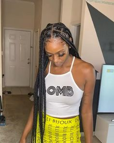 Pin on hairstyles Box Braids Hairstyles For Black Women, Braids Hairstyles Pictures, Twist Braid Hairstyles, Dope Hairstyles, Braided Hairstyles For Black Women, African Braids Hairstyles, Braids For Black Hair, Hair Pictures, Everyday Hairstyles