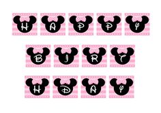 FREE PINK Minnie Mouse Happy Birthday Banner | CatchMyParty.com