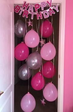 Birthday Morning Surprise Idea -Hanging balloons in Door way and Birthday banner