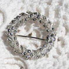 Vintage Sterling Silver Marcasite Wreath Brooch (25.00 USD) by BNDJewelry