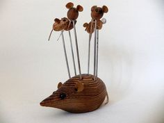 I had one of these!......vintage wooden mouse with cocktail pins. by beautifulsweden