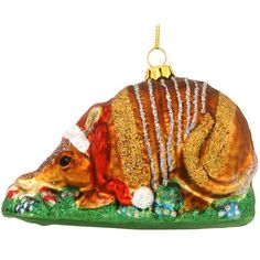 Armadillo With Santa Hat Glass Ornament