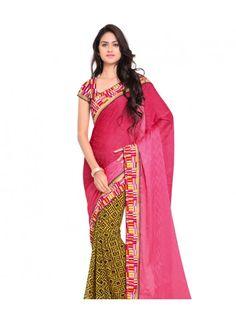 Crimson Pink and Yellow Crepe Georgette Fashion Saree