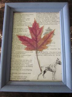 Framed ferns and leaves mounted on recycled pages by emilyheney, $9.00