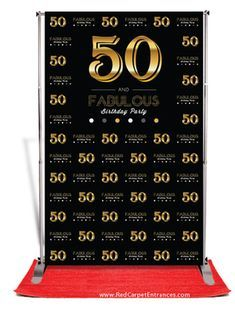 50 and Fabulous Birthday Backdrop - Black — Red Carpet Runner & Red Carpet Backdrop Event Shop 50th Birthday Themes, Moms 50th Birthday, 50th Party, 60th Birthday Party, Birthday Celebration, Birthday Sayings, Birthday Crafts, Birthday Greetings, Birthday Wishes