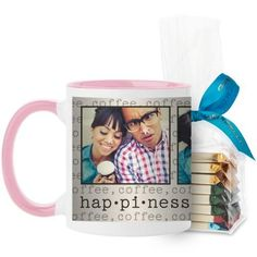 Happiness Mug, Pink, with Ghirardelli Assorted Squares, 11 oz, Beige