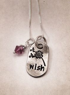 Hand stamped pewter necklace - wish - make a wish - dandelion - handmade - gifts for her Metal Stamped Bracelet, Hand Stamped Jewelry, Handmade Gifts For Her, Handmade Jewelry, Unique Jewelry, Metal Stamping, Jewelry Stamping, Metal Jewelry, Penny Jewelry
