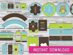 Printable Owl Baby Shower Kit blue and brown by