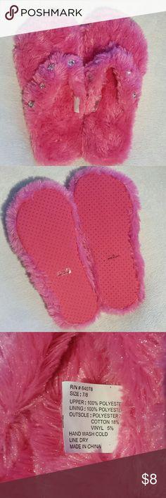 Fun hot pink jeweled fuzzy slipper flip flops NWOT fuzzy slipper flip flops with jewels Shoes Slippers