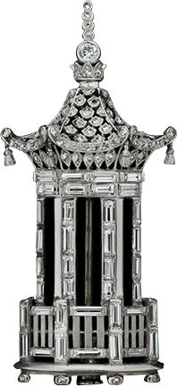 Art Deco Platinum, Diamond Tower Brooch, ca.1925.
