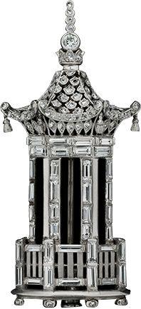 Art Deco Platinum, Diamond Tower Brooch, ca.1925.