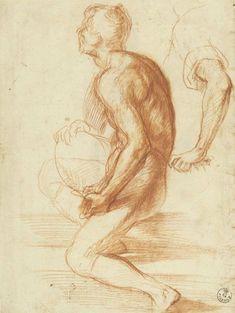 Andrea del Sarto (1486–1530), Study of a Kneeling Figure in Profile to the Left, ca. 1522. Red chalk, 10 7/16 x 7 7/8 in. (26.5 x 20 cm), Recto. Galleria degli Uffizi, Gabinetto Disegni e Stampe, Florence. Courtesy the Ministero dei beni e delle attività culturali e del turismo