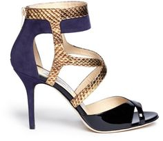 7bceddd6d174 Navy color way--very pretty Love this  Freesia Suede Snakeskin Strappy  Sandals  . Lyst