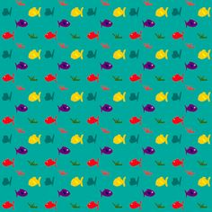 FREE digital green scrapbooking paper with fishes: printable DIY wrapping paper