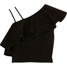 River Island Black asymmetric cold shoulder frill crop top ($20) ❤ liked on Polyvore featuring tops, crop tops, shirts, black, sale, women, crop shirt, flutter-sleeve top, asymmetrical tops and ruffle crop top