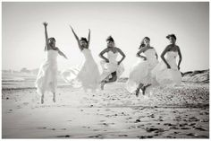 After the last friend gets married, everyone puts on their wedding gowns one last time for a photo shoot!