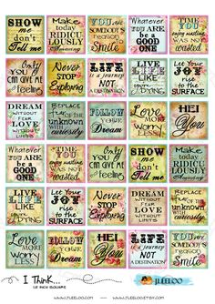 - Digital collage sheet I THINK images 1.5x1.5 inch phrases quote for pendants magnets glass tiles / QU254. $3.60, via Etsy.