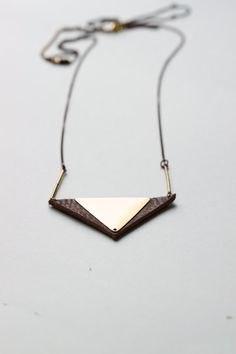 Tribal triangles Necklace Leather triangle door underanewlight