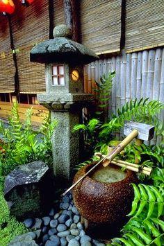 Tsukubai, water basin, in Yasaka Shrine, Kyoto, Japan