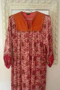 India Gauze Dress Vintage 70s Indian Hippie Boho por LatourdeCarol, €136.00