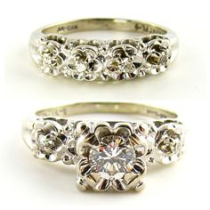 1950's Diamond and 14K White Gold Wedding Ring and Band Set