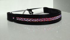 Padded straight Browband with Swarovski Crystal in Fuchsia AB and Crystal AB. For more information go to www.blingyourgg.com